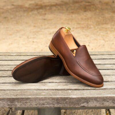 Custom Made Tassel Loafers in Medium Brown Pebble Grain Leather with Dark Brown Painted Calf