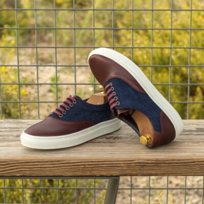 Custom Made Top Sider in Burgundy Painted Calf with Denim Jeans