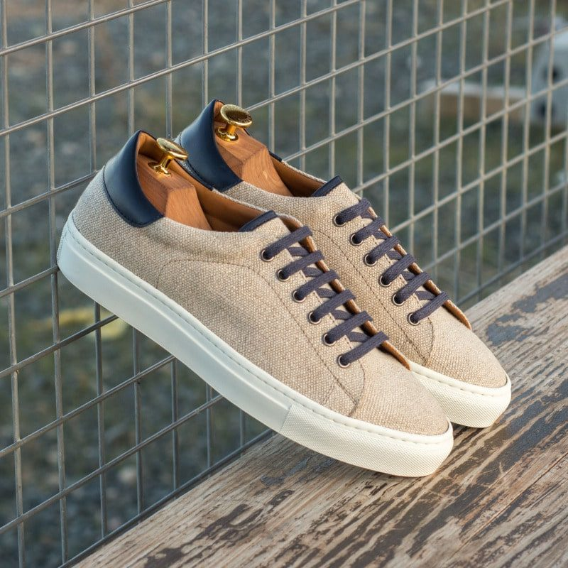 Custom Made Trainers in Ice Linen and Navy Blue Box Calf