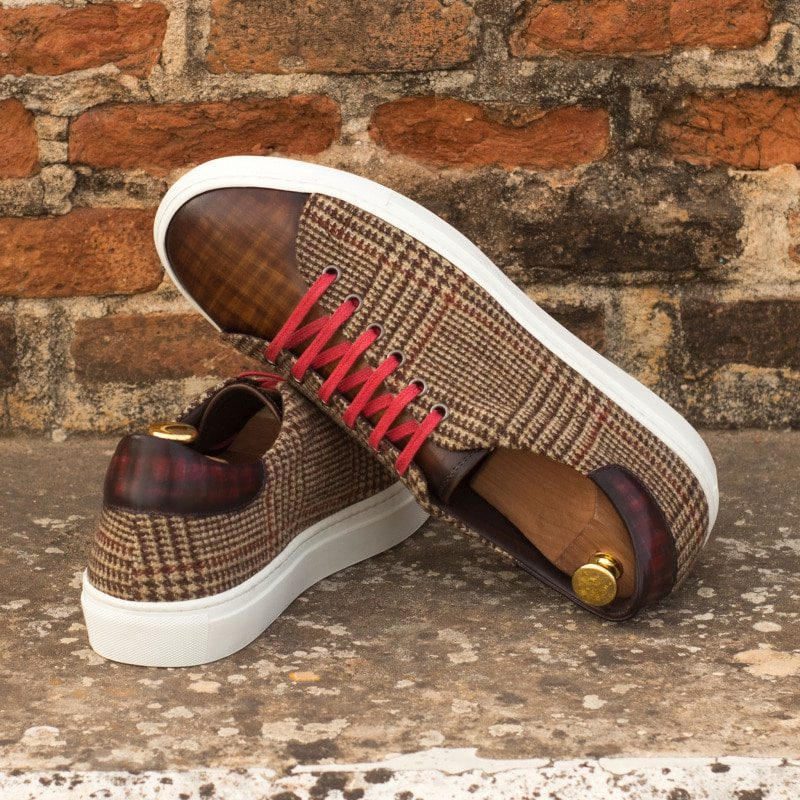 Custom Made Trainers in Raw Crust Italian Leather with a Brown and Burgundy Hand Patina and Tweed
