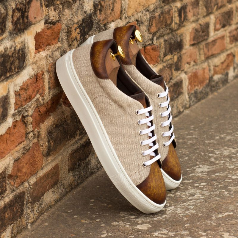 Custom Made Trainers in Raw Crust Italian Leather with a Cognac Hand Patina and Ice Linen