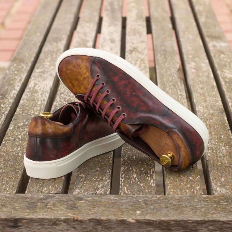 Custom Made Trainers in Raw Crust Italian Leather with a Cognac and Burgundy Hand Patina