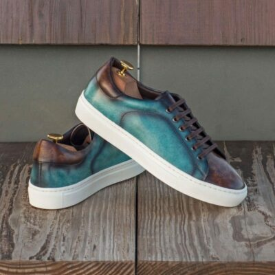 Custom Made Trainers in Raw Crust Italian Leather with a Turquoise and Brown Hand Patina