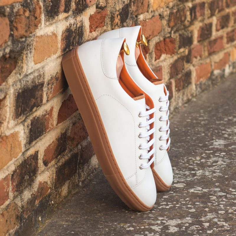 Custom Made Trainers in White Box Calf with Cognac Painted Full Grain Leather
