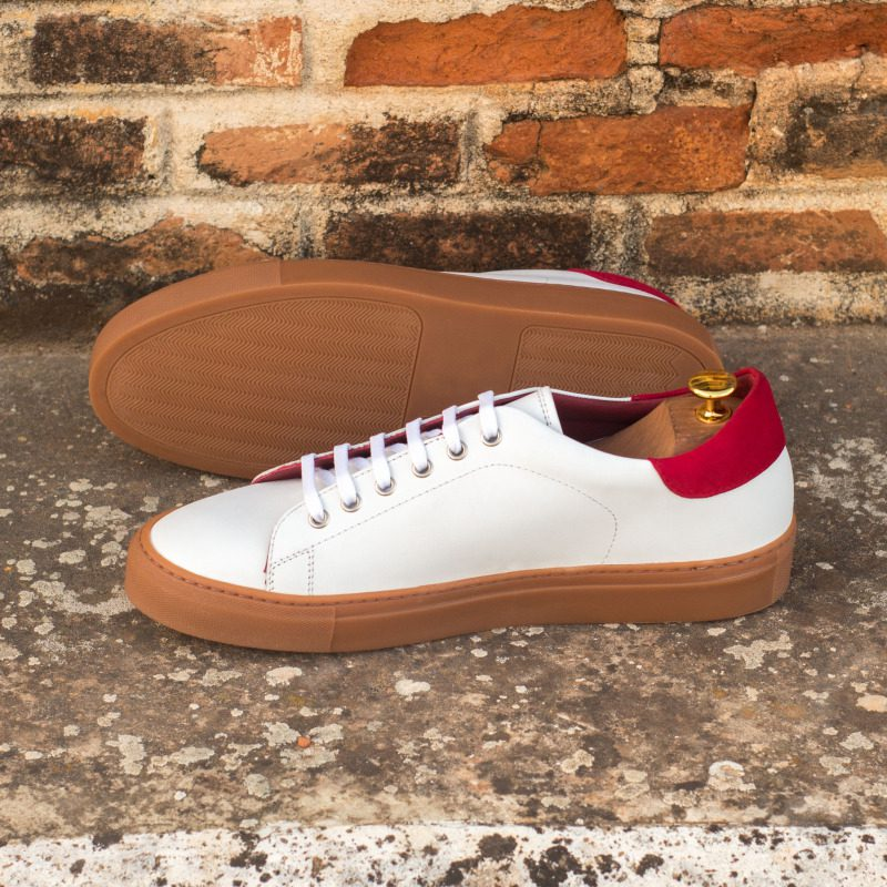 Custom Made Trainers in White Box Calf with Red Kid Suede