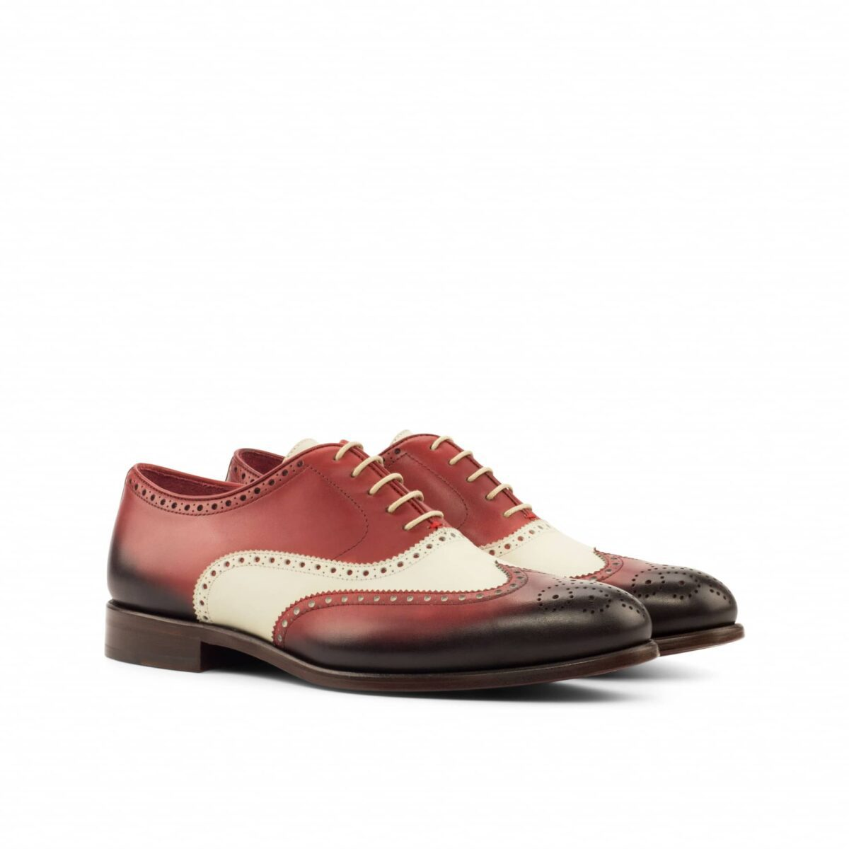 Custom Made Wingtips in Burnished Red Painted Calf with Natural Crust Calf