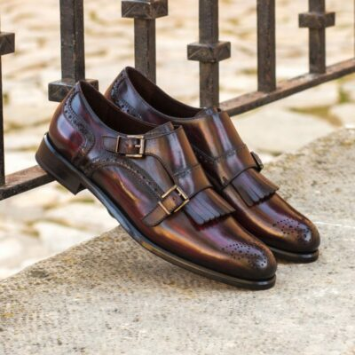Custom Made Women's Kiltie Monkstrap in Italian Raw Crust Leather with a Burgundy Hand Patina