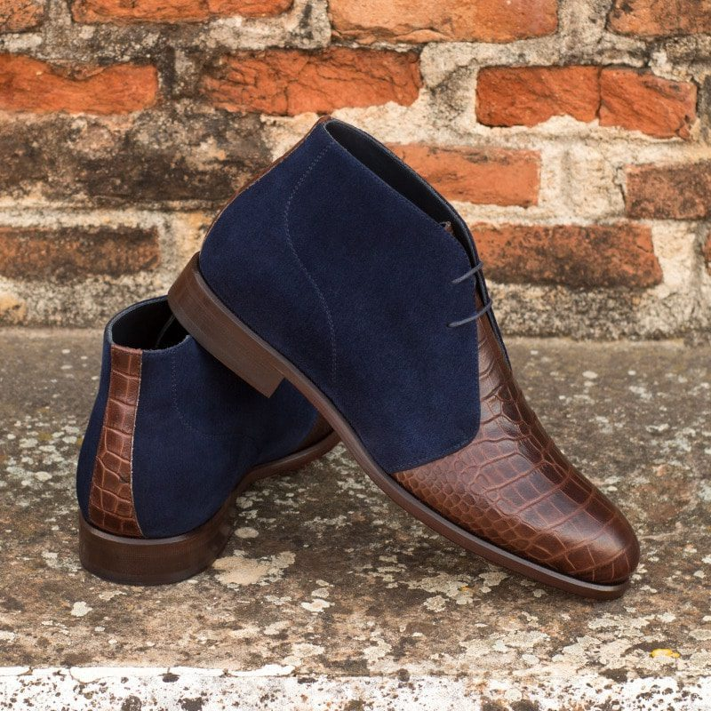 Custom Made Chukka Boot in Navy Blue Kid Suede with Brown Croco Embossed Calf
