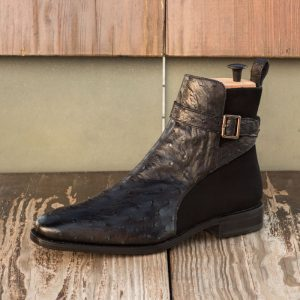 Custom Made Goodyear Welted Jodhpur Boot in Black Genuine Ostrich and Black Kid Suede