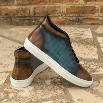Custom Made High Top in Italian Raw Crust Leather with a Brown and Turquoise Papiro Hand Patina Finish