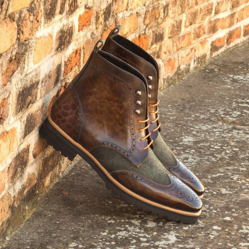 Custom Made Military Brogue Boot in Italian Raw Crust Leather with a Brown Hand Patina, Camo Flannel and Brown Croco