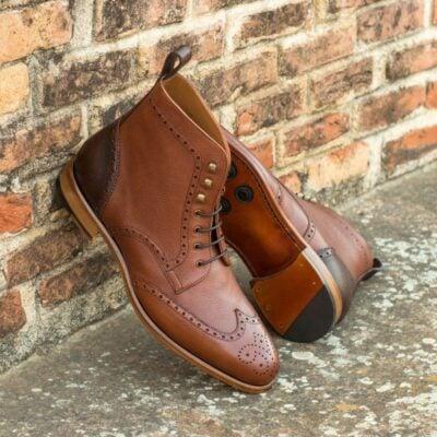 Custom Made Military Brogue Boot in Medium Brown and Dark Brown Pebble Grain Leather