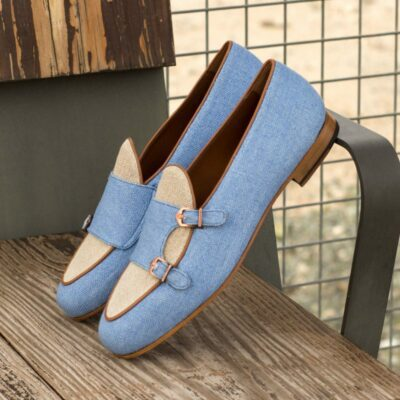 Custom Made Monk Slippers in Blue and Ice Linen with Medium Brown Painted Calf