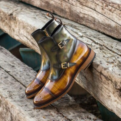 Custom Made Octavian Boot in Italian Raw Crust Leather with a Cognac Papiro and Green Museum Hand Patina Finish