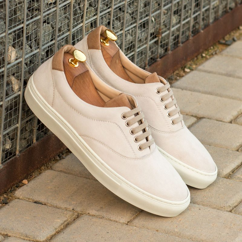 Custom Made Top Sider in White and Camel Kid Suede