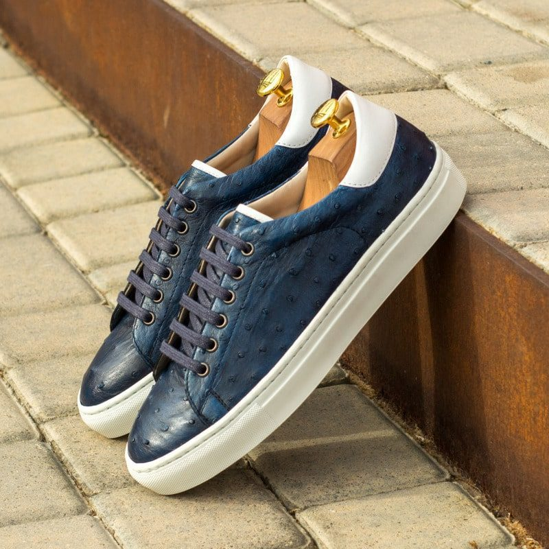 Custom Made Trainers in Navy Blue Genuine Ostrich and White Box Calf