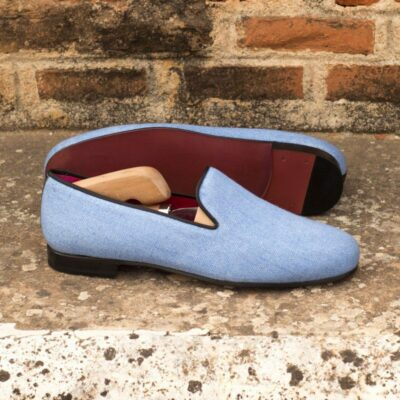 Custom Made Wellington Slippers in Blue Linen with Black Painted Calf