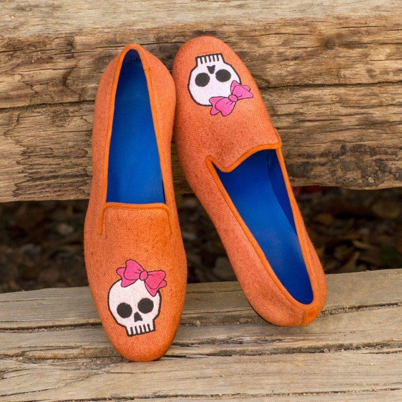 Custom Made Audrey Slipper in Orange Linen