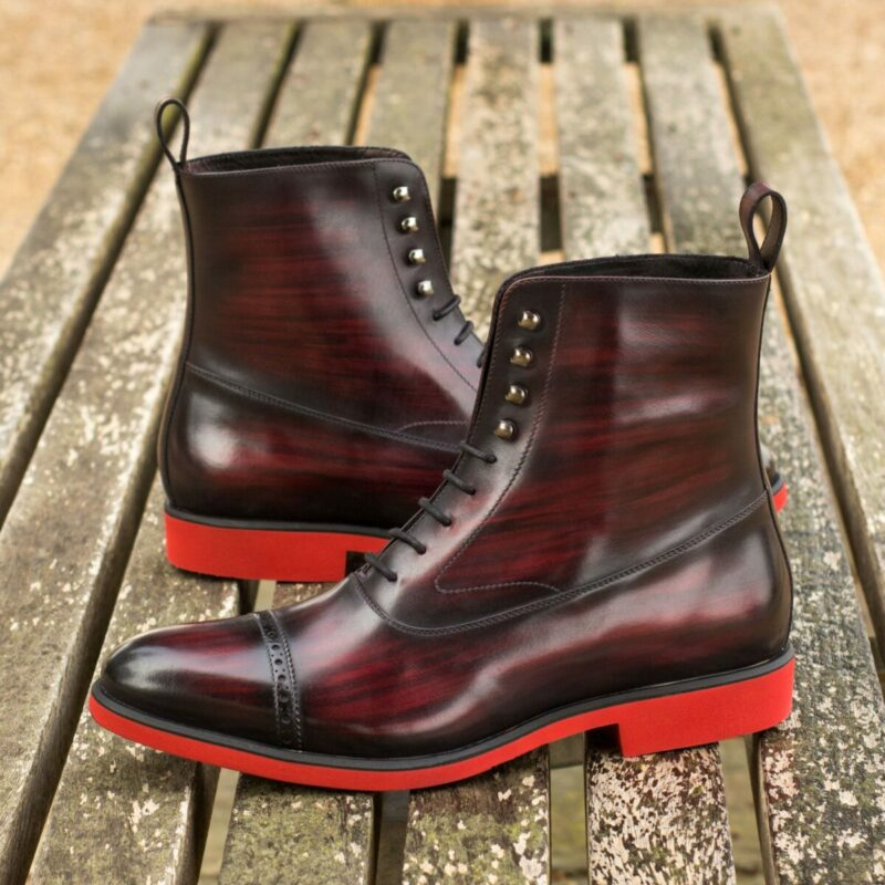 Custom Made Balmoral Boot in Italian Raw Crust Leather with a Burgundy Hand Patina
