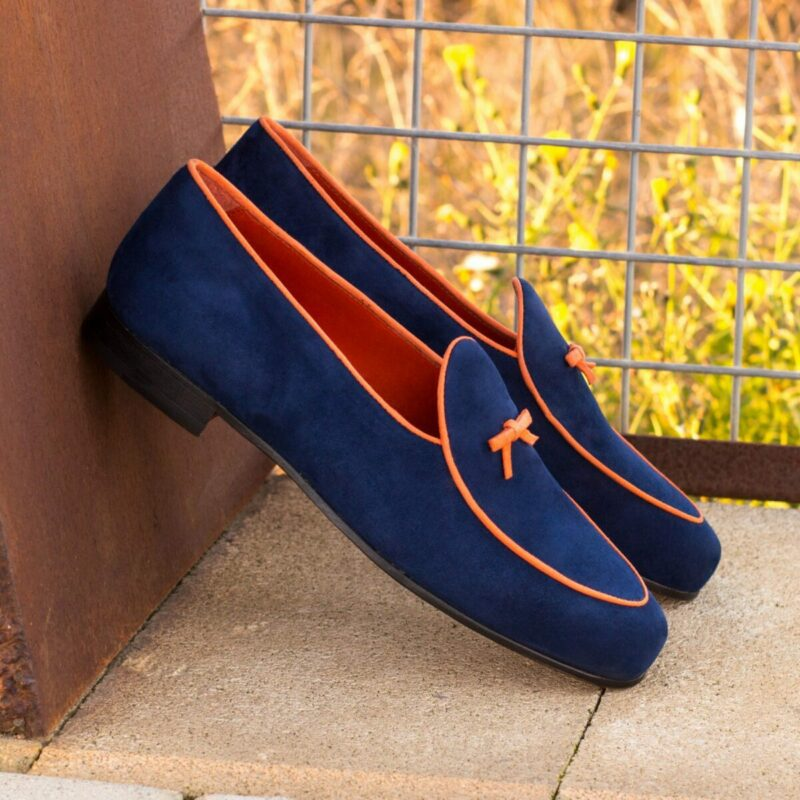 Custom Made Belgian Slippers in Navy Blue and Orange Suede