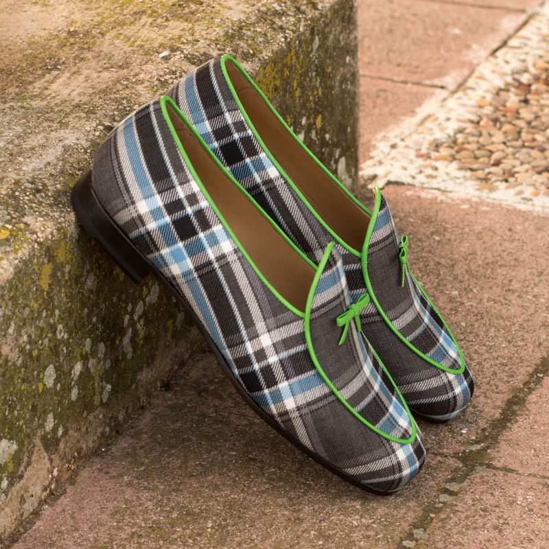 Custom Made Belgian Slippers in Plaid with Green Nappa Leather