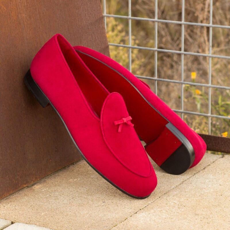 Custom Made Belgian Slippers in Red Suede
