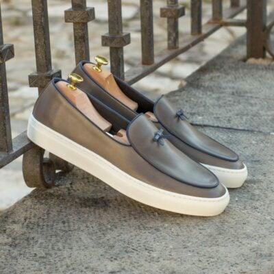 Custom Made Belgian Sneaker in Grey Painted Calf Leather