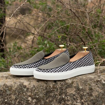 Custom Made Belgian Sneaker in Houndstooth and Grey Linen