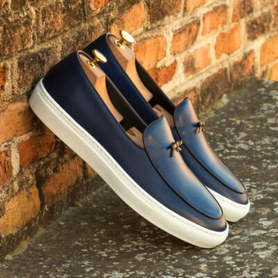 Custom Made Belgian Sneaker in Navy Blue Painted Calf Leather