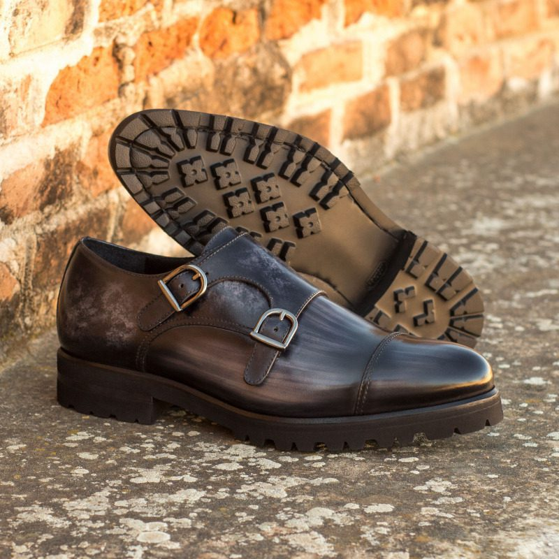 Custom Made Double Monks in Italian Raw Crust Leather with a Grey Hand Patina