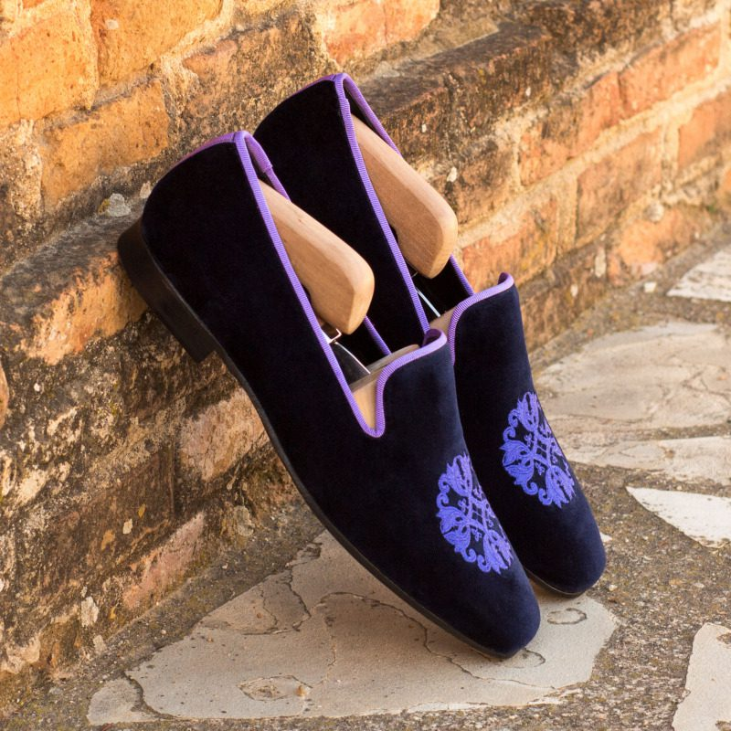 Custom Made Drake Slippers in Purple Velvet with Light Purple Grossgrain and Embroidery