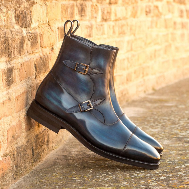 Custom Made Goodyear Welt Octavian Buckle Boot in Italian Raw Crust Leather with a Denim Blue Hand Patina