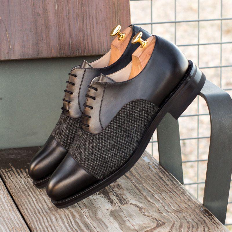 Custom Made Goodyear Welt Oxford in Black Box Calf and Nailhead Wool