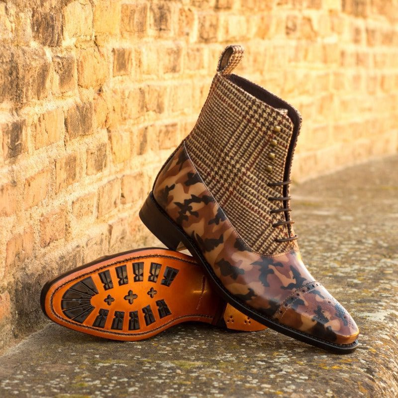 Custom Made Goodyear Welted Balmoral Boot in Raw Crust Italian Leather with a Brown Camo Hand Patina and Wool Tweed