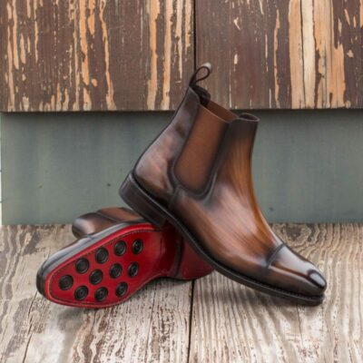 Custom Made Goodyear Welted Chelsea Boot Classic in Italian Raw Crust Leather with a Brown Hand Patina Finish