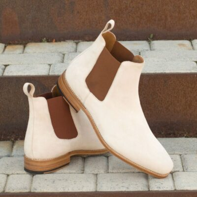 Custom Made Goodyear Welted Chelsea Boot Classic in Ivory Kid Suede
