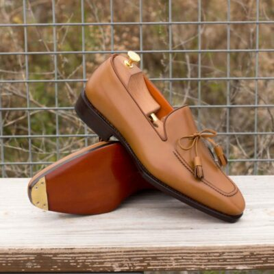 Custom Made Goodyear Welted Loafers in Cognac Box Calf with Metal Toe Taps