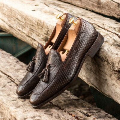 Custom Made Goodyear Welted Loafers in Dark Brown Genuine Python with Dark Brown Pebble Grain Leather