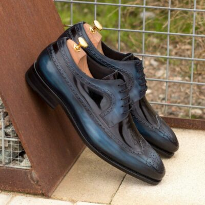 Custom Made Goodyear Welted Long Wingtip Blucher in Italian Raw Crust Leather with a Denim Blue Hand Patina and Black Patent Leather