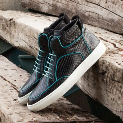 Custom Made High Top Multi in Black Genuine Python with Turquoise Calf Leather and Black Kid Suede