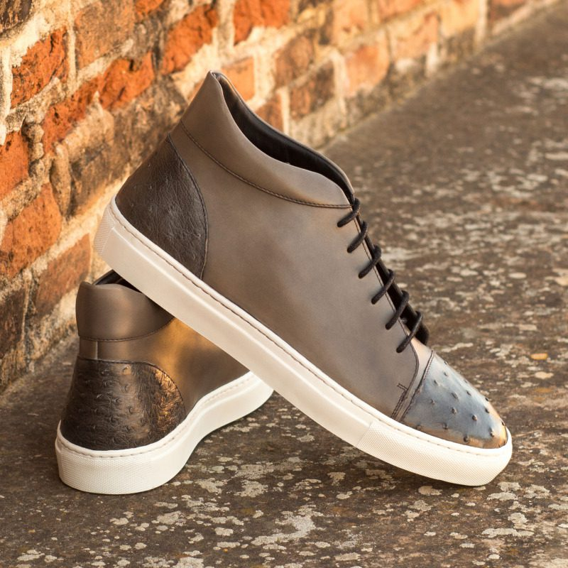 Custom Made High Top in Grey Painted Calf with Grey Genuine Ostrich