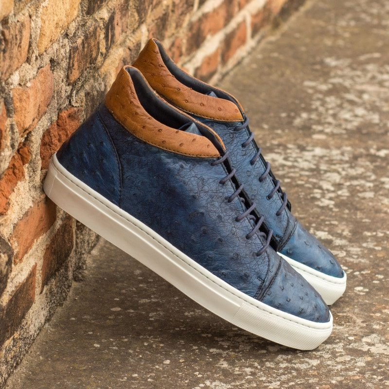 Custom Made High Top in Navy Blue and Cognac Genuine Ostrich