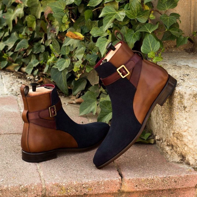 Custom Made Jodhpur Boot in Navy Blue Luxe Suede with Medium Brown Box and Burgundy Box Calf
