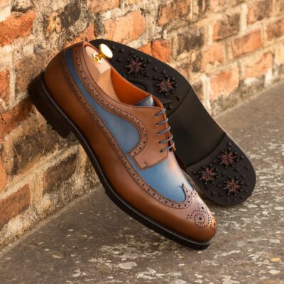 Custom Made Long Wingtip Blucher Golf Shoe in Medium Brown and Navy Blue Painted Calf Leather with Softspikes®