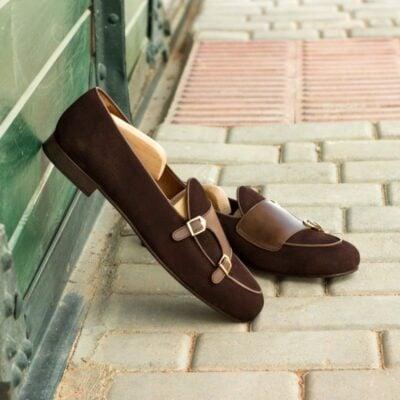 Custom Made Monk Slippers in Brown Suede with Dark Brown Painted Calf
