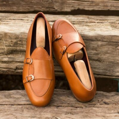 Custom Made Monk Slippers in Cognac Painted Calf and Pebble Grain Leather