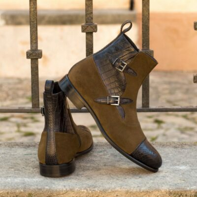 Custom Made Octavian Boot in Black Croco with Khaki Luxe Suede