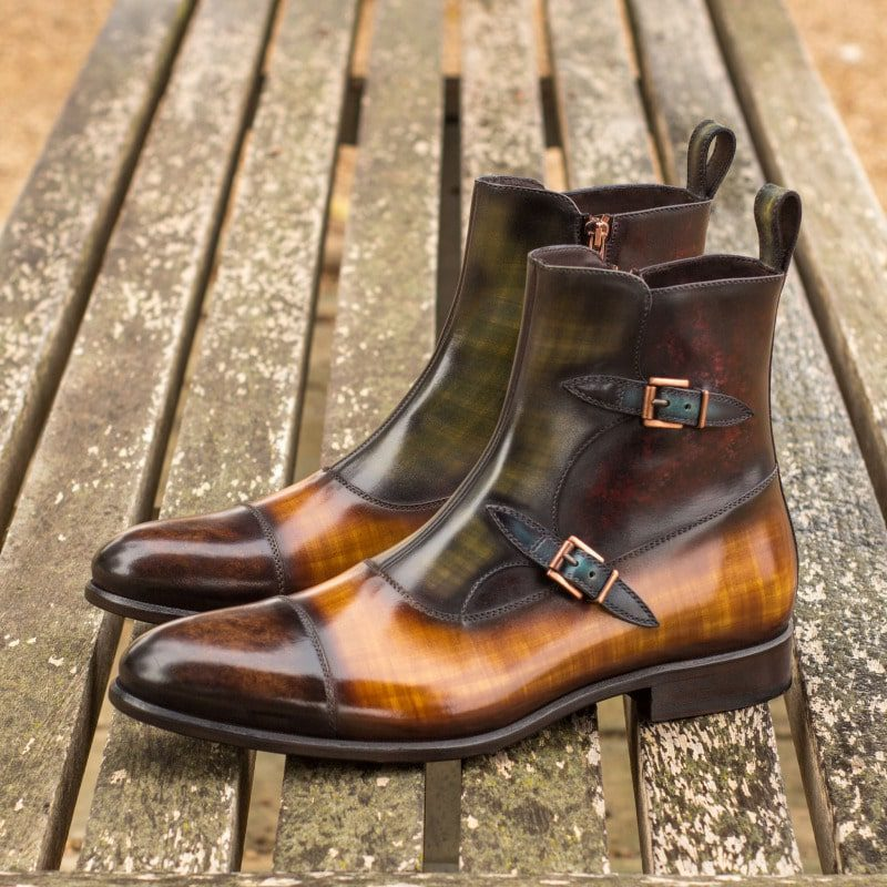 Custom Made Octavian Boot in Italian Raw Crust Leather with a Multi Color Hand Patina Finish