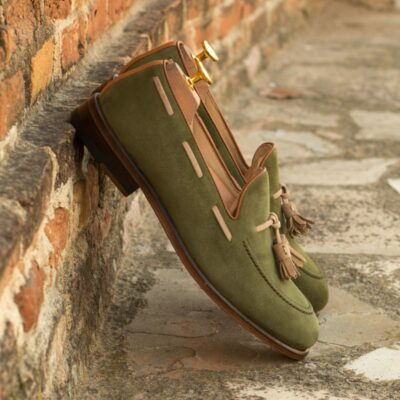 Custom Made Tassel Loafers in Khaki Kid Suede with Camel Kid Suede and Cognac Painted Calf