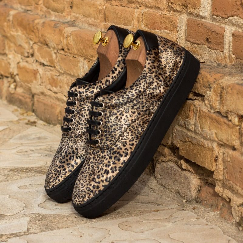 Custom Made Top Sider in Leopard Print Flannel with Black Box Calf